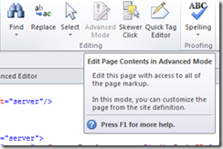 Edit page in advanced mode