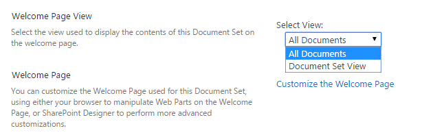 Document Set View selector