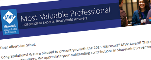 SharePoint Server MVP 2015 award header image