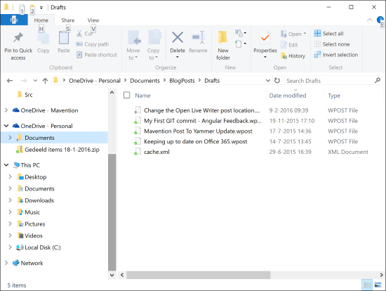 Open Live Writer drafts saved to OneDrive