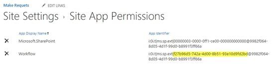 Workflow permission guids view