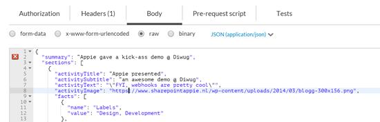 PostMan JSON Sample Groups & Webhooks