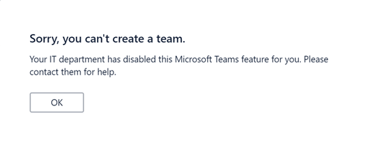 Group & Plan creation disabled in Teams
