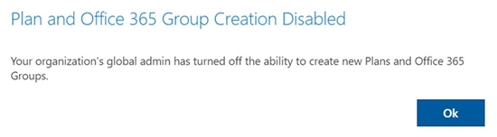 Group & Plan creation disabled in Planner