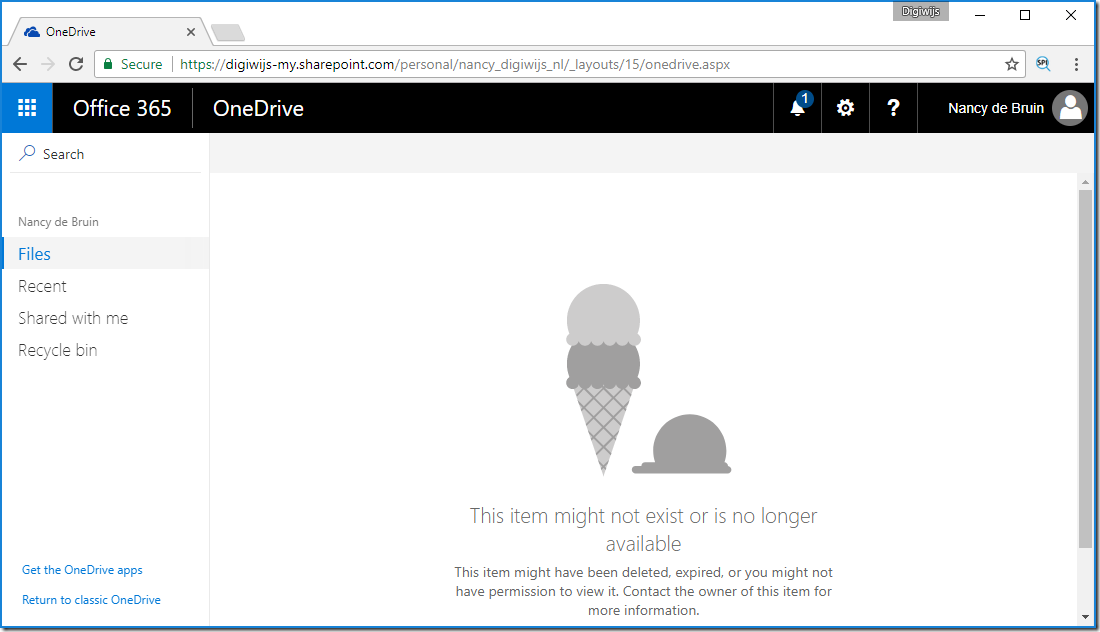 OneDrive UI error message