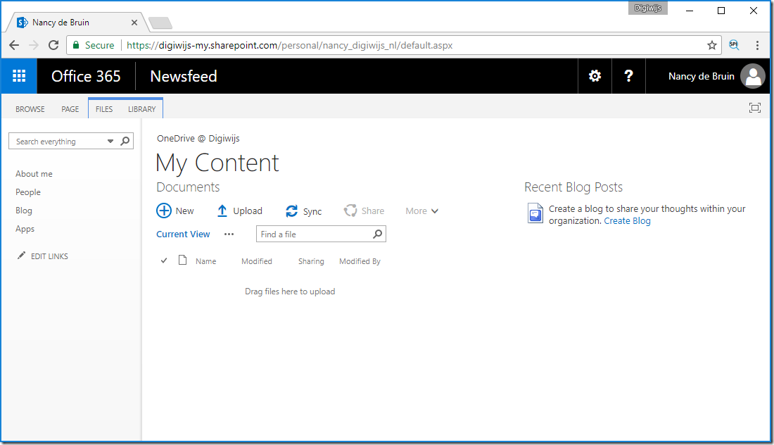 OneDrive Working My Site view