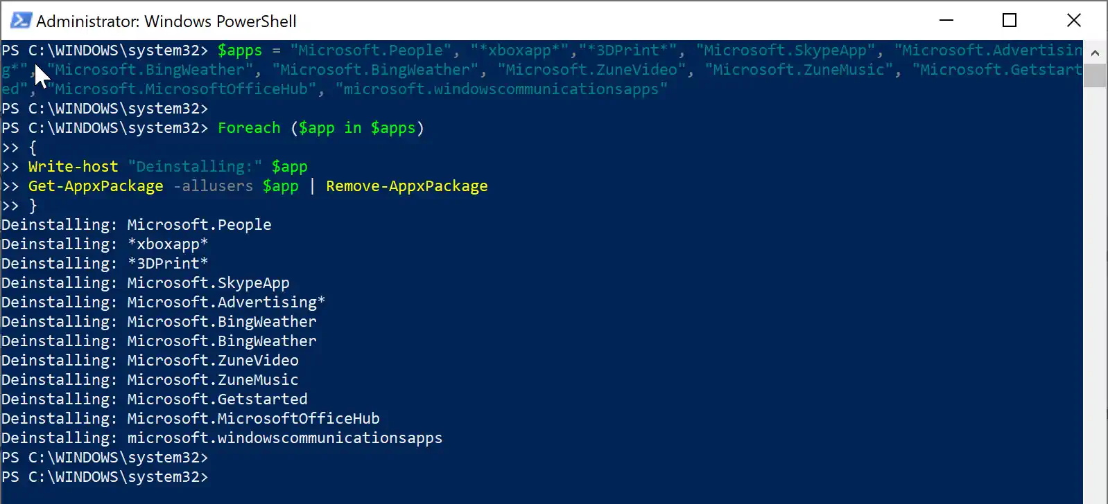 Uninstalling windows store apps using PowerShell header image
