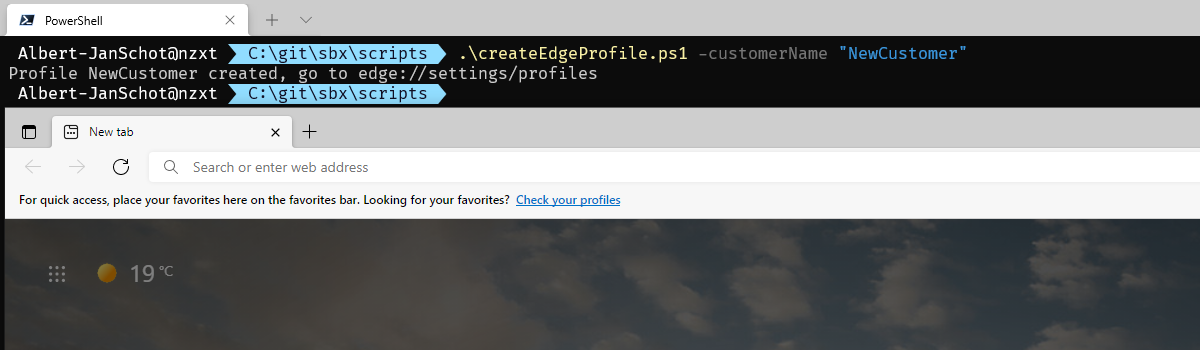 Quickly create a new profile for Edge with PowerShell header image