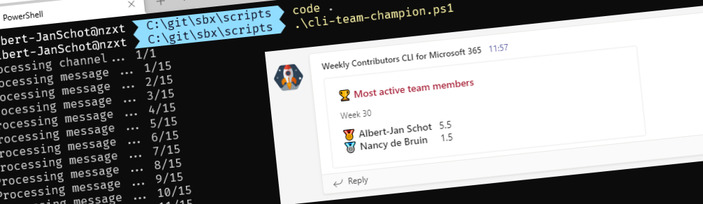 Recognize active team members with the CLI for Microsoft 365 header image